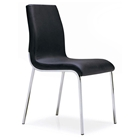 Byford Modern Dining Chair - Chrome Legs, Black