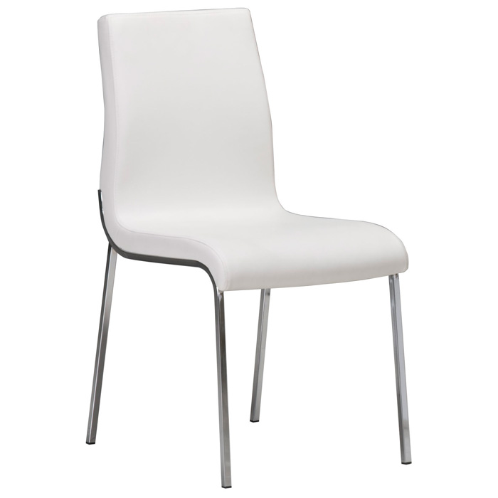 Byford Modern Dining Chair - Chrome Legs, White