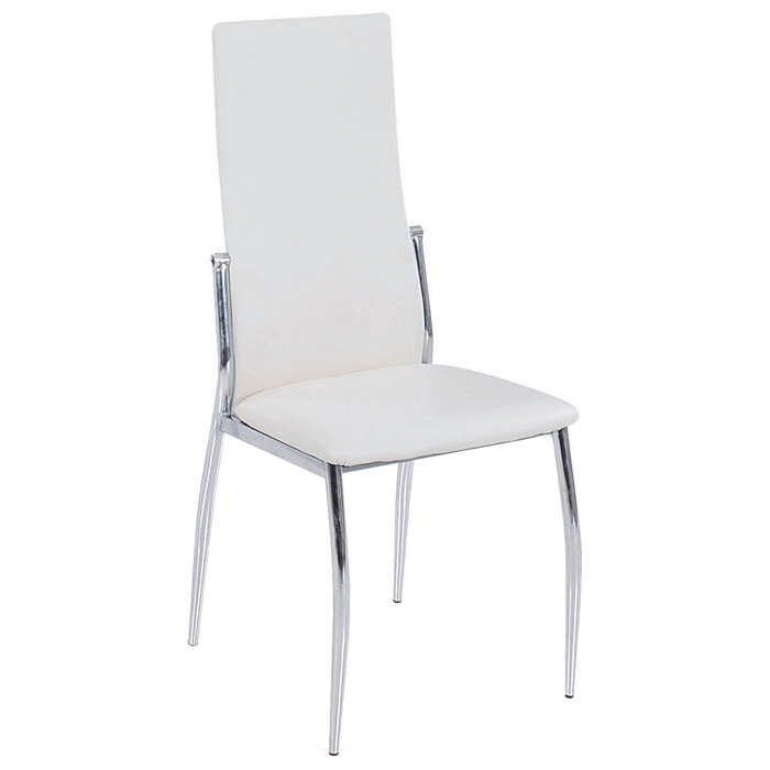 Barlow Modern Dining Chair - Chrome, Tall Back, White