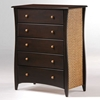 Clove Five Drawer Chest with Rattan Panels and Knobs