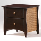 Clove Two Drawer Nightstand with Rattan Panels and Knobs