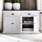Halifax Contrast Buffet Table - 2 Drawers, Pure White, Black Top - NSOLO-B127CT
