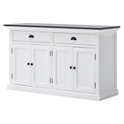 Halifax Contrast Buffet Table - 2 Drawers, Pure White, Black Top