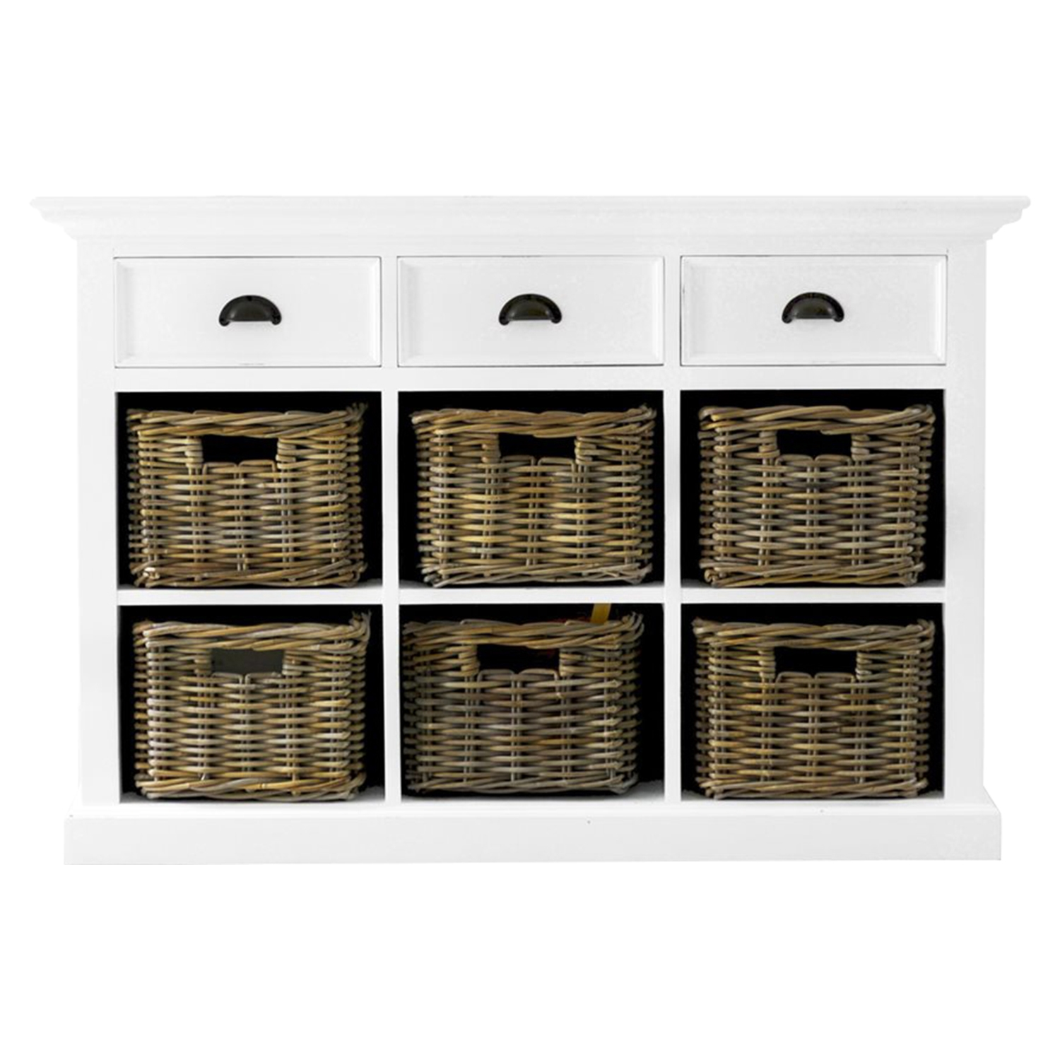 Halifax Buffet with 6 Baskets - Pure White