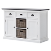 Halifax Contrast Buffet Table - 2 Baskets, Pure White, Black Top