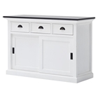 Halifax Contrast Buffet Table - Sliding Doors, Pure White, Black Top