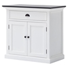 Halifax Contrast Buffet Table - Pure White, Black Top