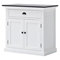 Halifax Contrast Buffet Table - Pure White, Black Top - NSOLO-B180CT