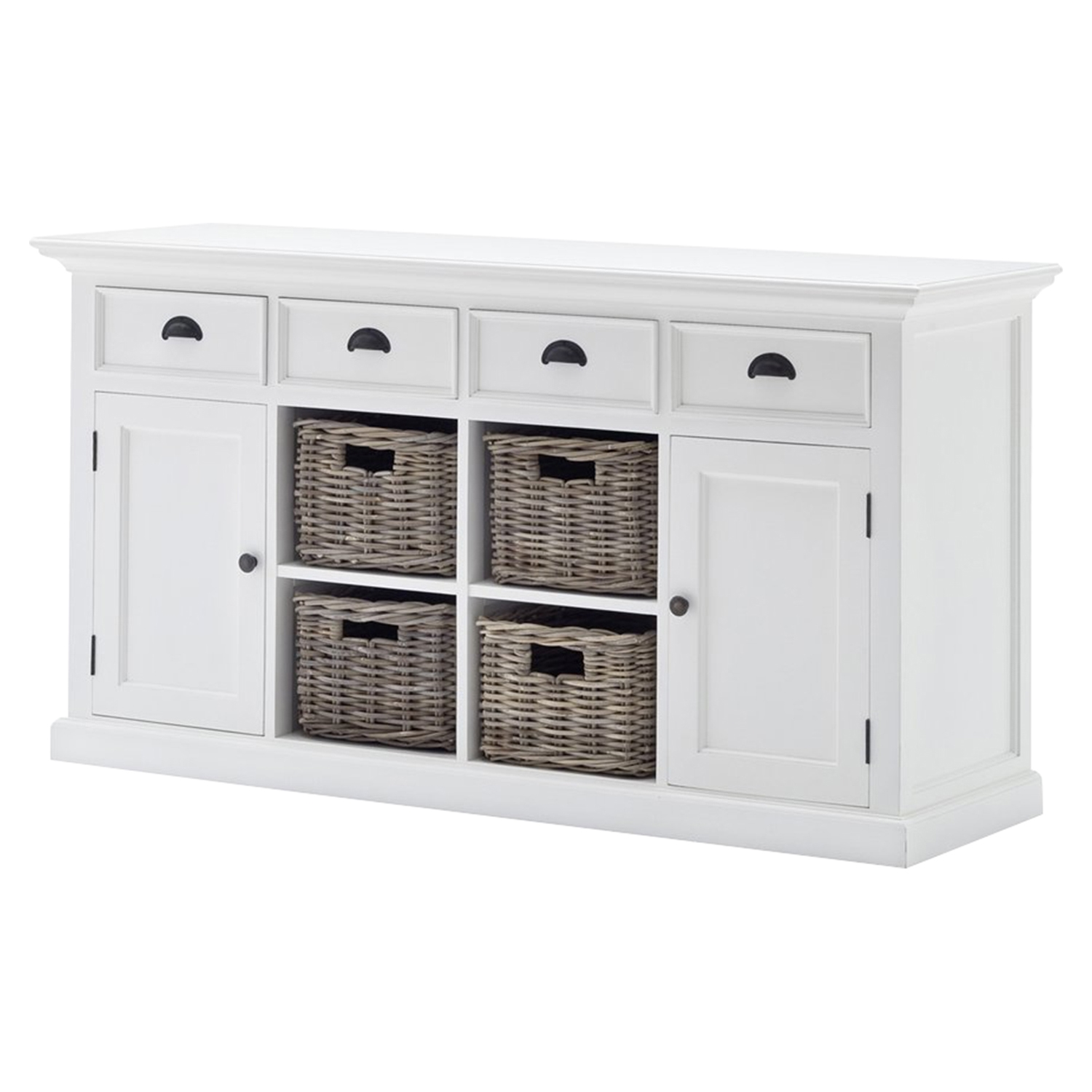 Halifax Buffet with 4 Baskets Set - Pure White - NSOLO-B189