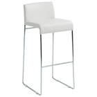 "Nina 29"" Bar Stool - Chrome Frame, White, Leather Look"