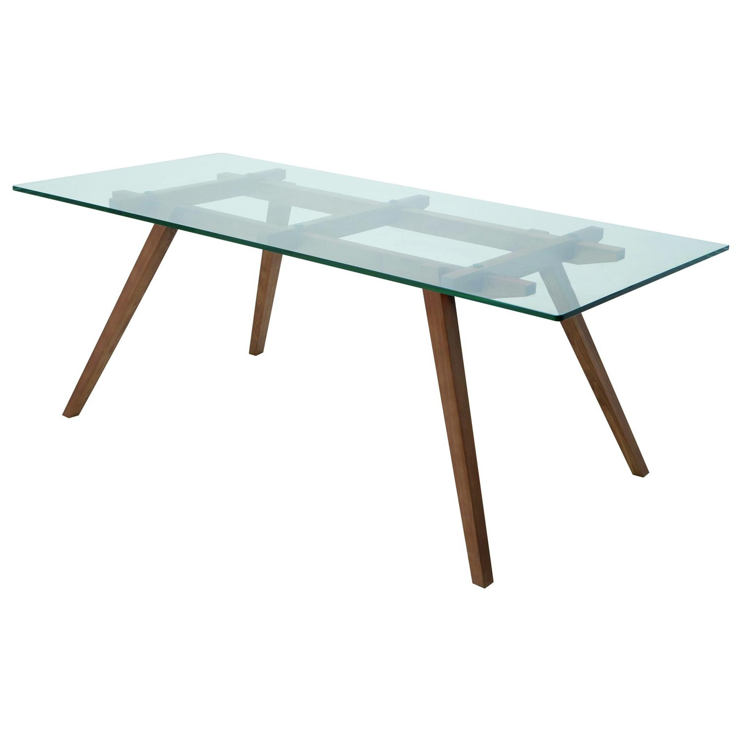 Franz Contemporary Glass Dining Table - Tempered Glass, Walnut