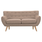 Ida Button Tufted Upholstery Loveseat - Light Sand