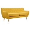 Ida Button Tufted Upholstery Sofa - Papaya Yellow