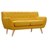 Ida Button Tufted Upholstery Loveseat- Papaya Yellow