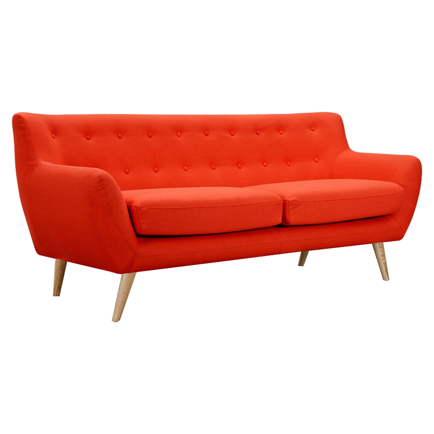 Ida Button Tufted Upholstery Sofa - Retro Orange - NYEK-223313