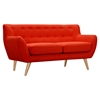 Ida Button Tufted Upholstery Loveseat- Retro Orange