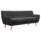 Ida Button Tufted Upholstery Sofa - Charcoal Gray
