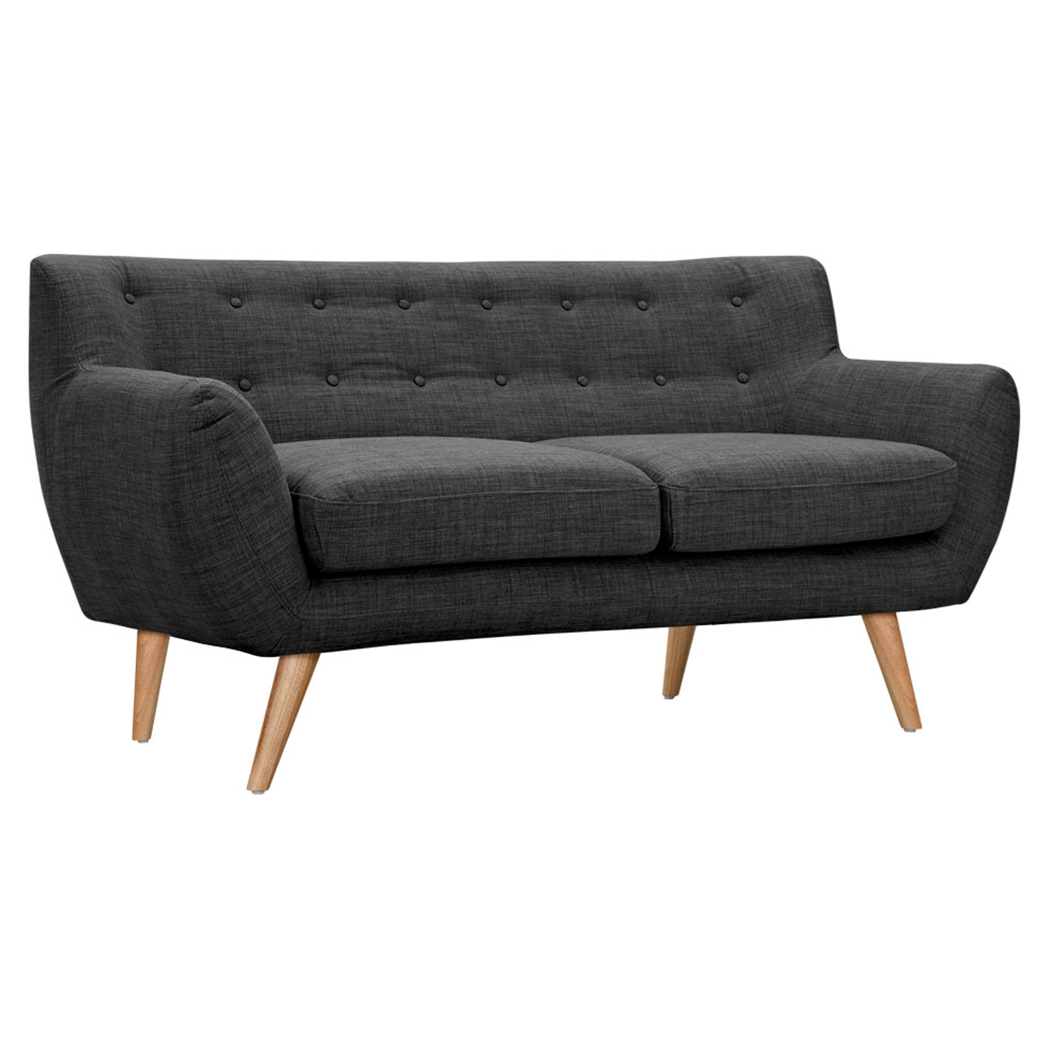 Ida Button Tufted Upholstery Loveseat- Charcoal Gray