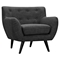 Ida Button Tufted Upholstery Armchair - Charcoal Gray - NYEK-223323