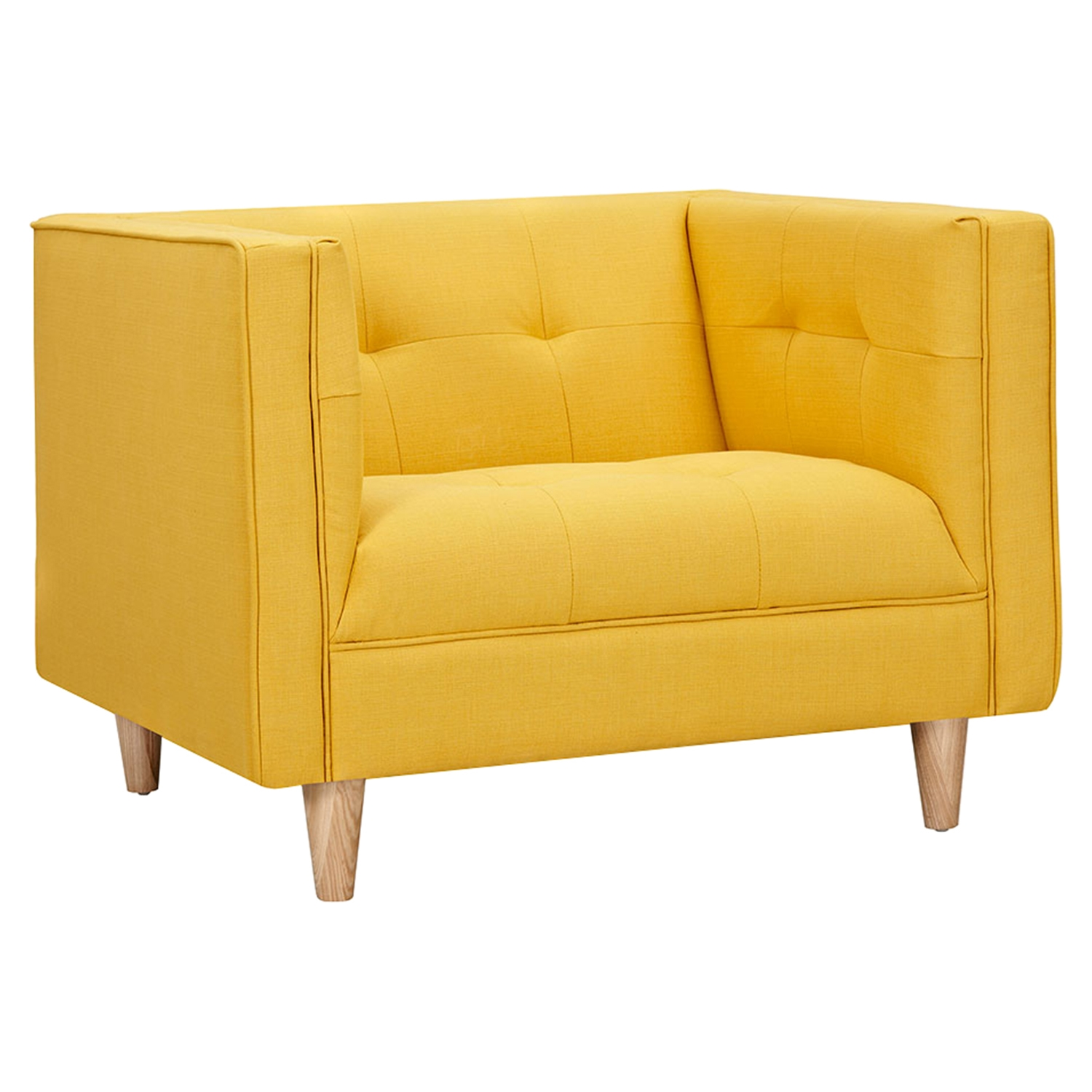 Kaja Armchair - Papaya Yellow, Tufted