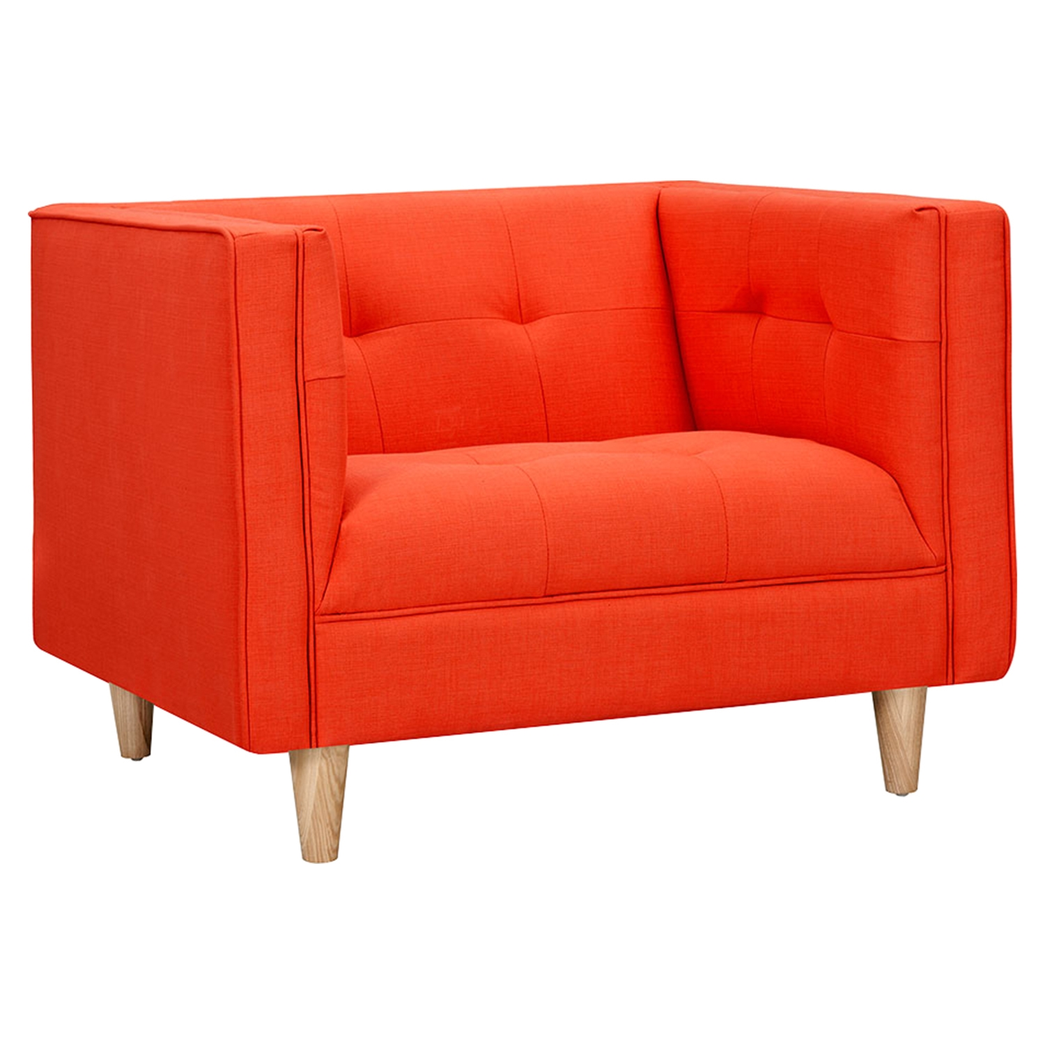 Kaja Armchair - Retro Orange, Tufted