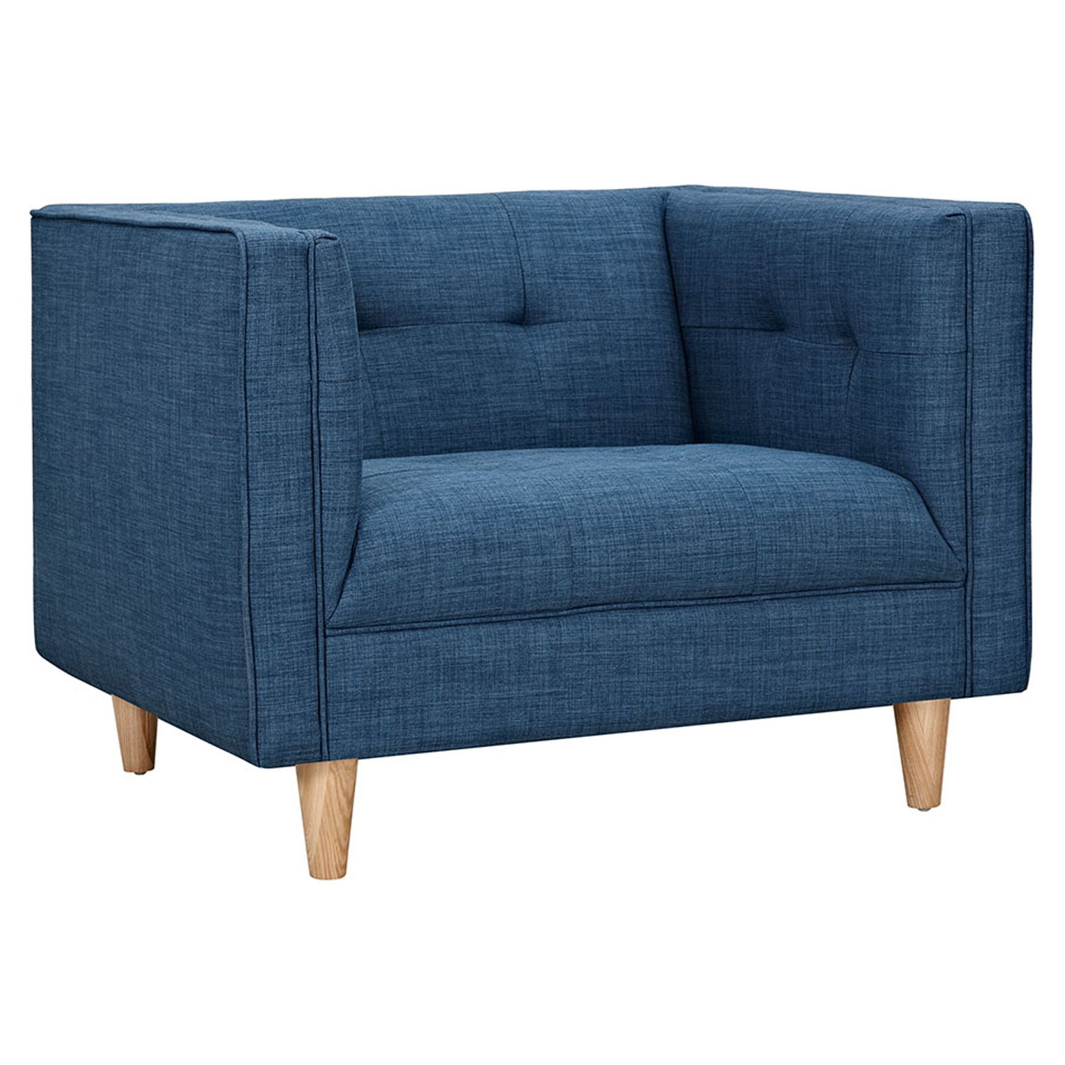 Kaja Armchair - Stone Blue, Tufted