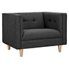Kaja Armchair - Charcoal Gray, Tufted