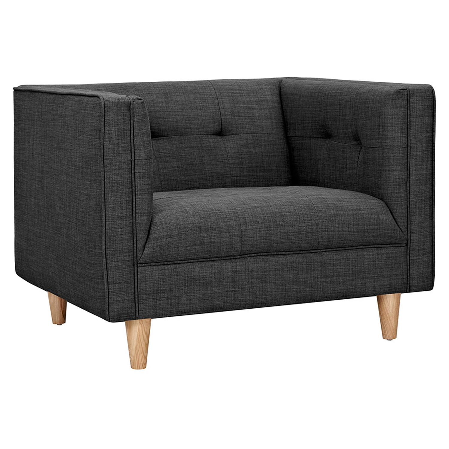 Kaja Armchair - Charcoal Gray, Tufted - NYEK-223341