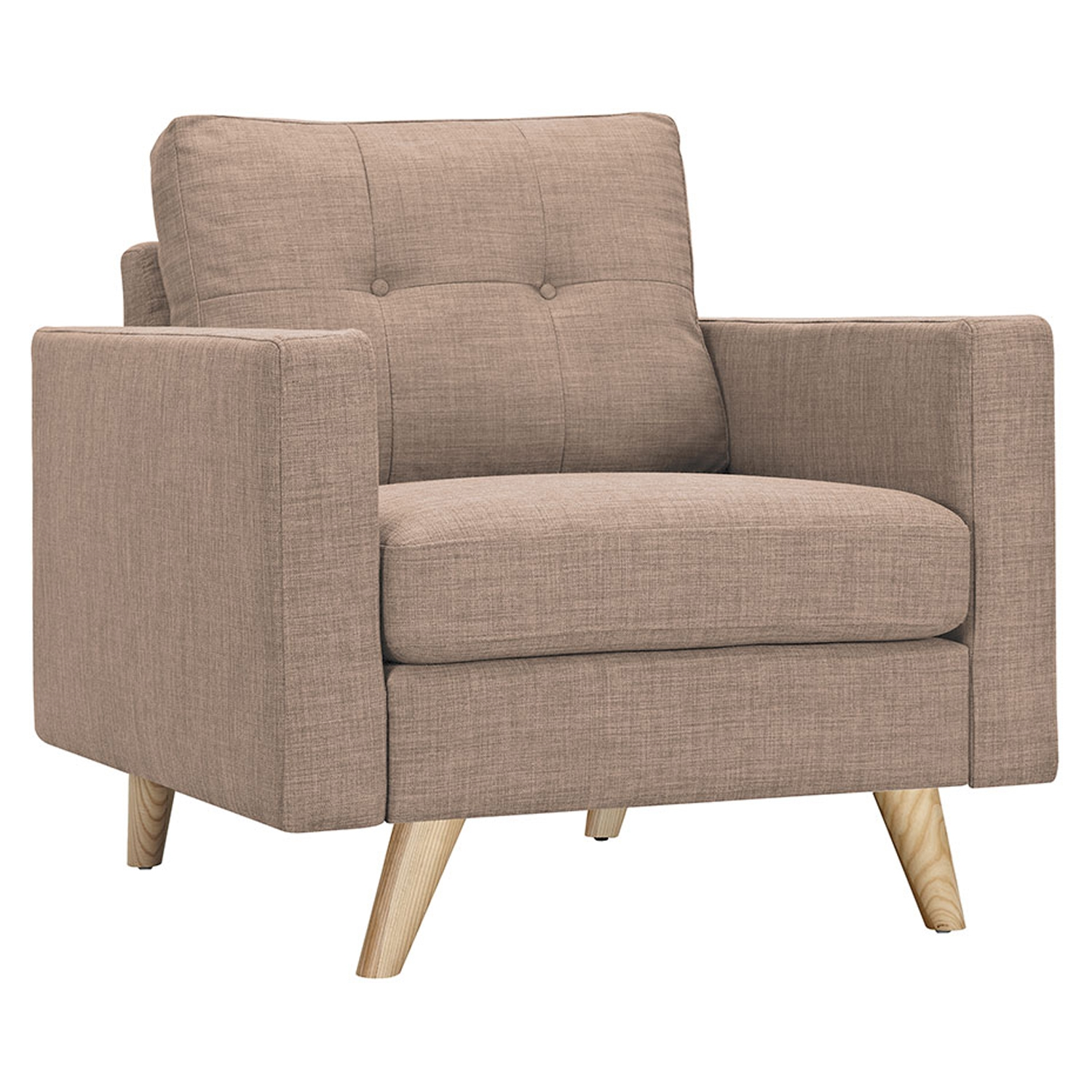 Uma Armchair - Light Sand, Button Tufted