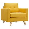 Uma Armchair - Papaya Yellow, Button Tufted