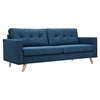 Uma Sofa - Stone Blue, Button Tufted