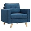 Uma Armchair - Stone Blue, Button Tufted