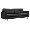 Uma Sofa - Charcoal Gray, Button Tufted