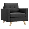 Uma Armchair - Charcoal Gray, Button Tufted