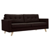 Uma Sofa - Mocha Brown, Button Tufted