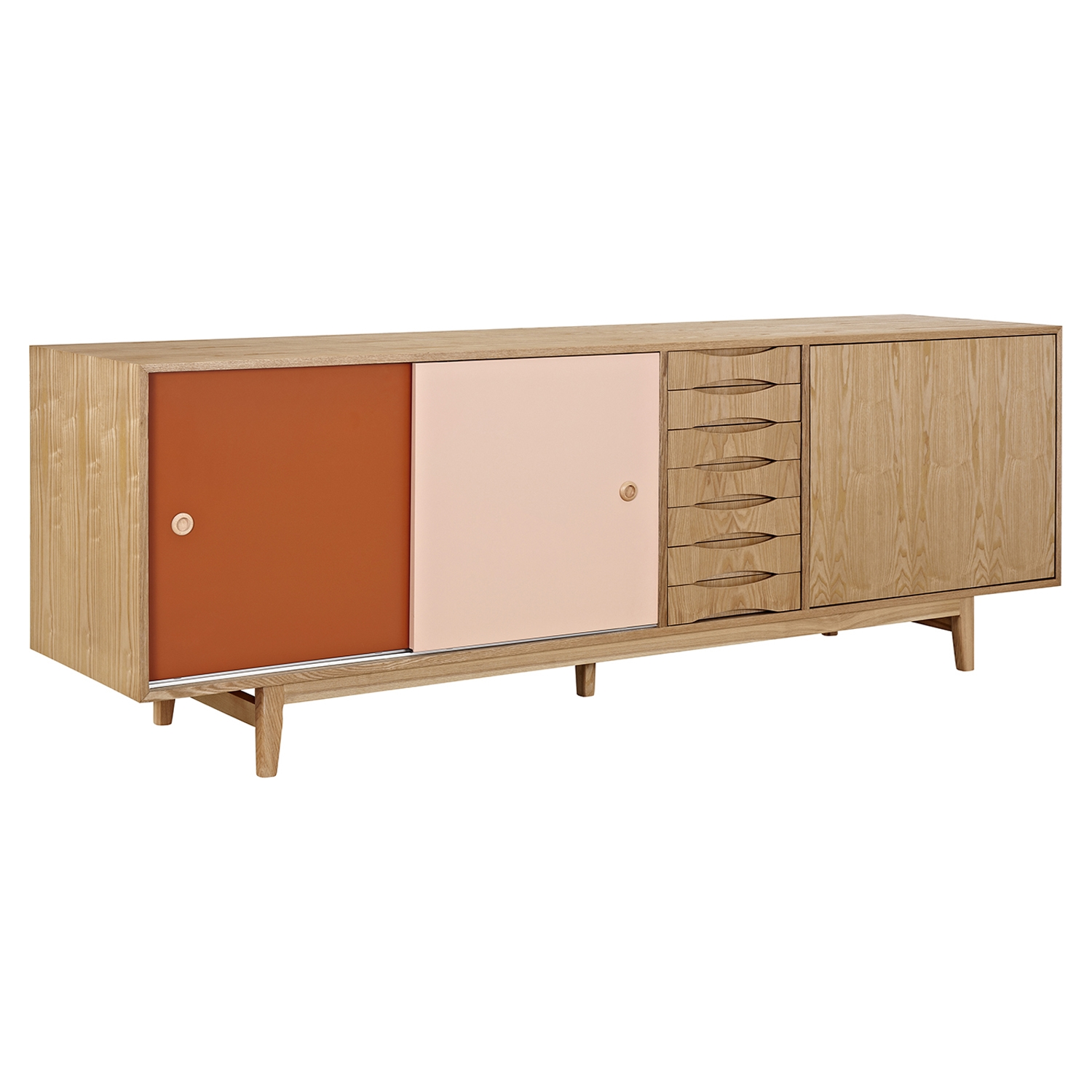 Alma 7 Drawers Sideboard - Natural with Red Door - NYEK-224405-NR