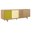 Alma 7 Drawers Sideboard - Natural with Green Door