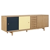 Alma 7 Drawers Sideboard - Natural with Teal Door