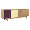Alma 7 Drawers Sideboard - Natural with Plum Door