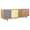 Alma 7 Drawers Sideboard - Natural with Gray Door