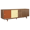 Alma 2 Sliding Doors Sideboard - Walnut with Red Door