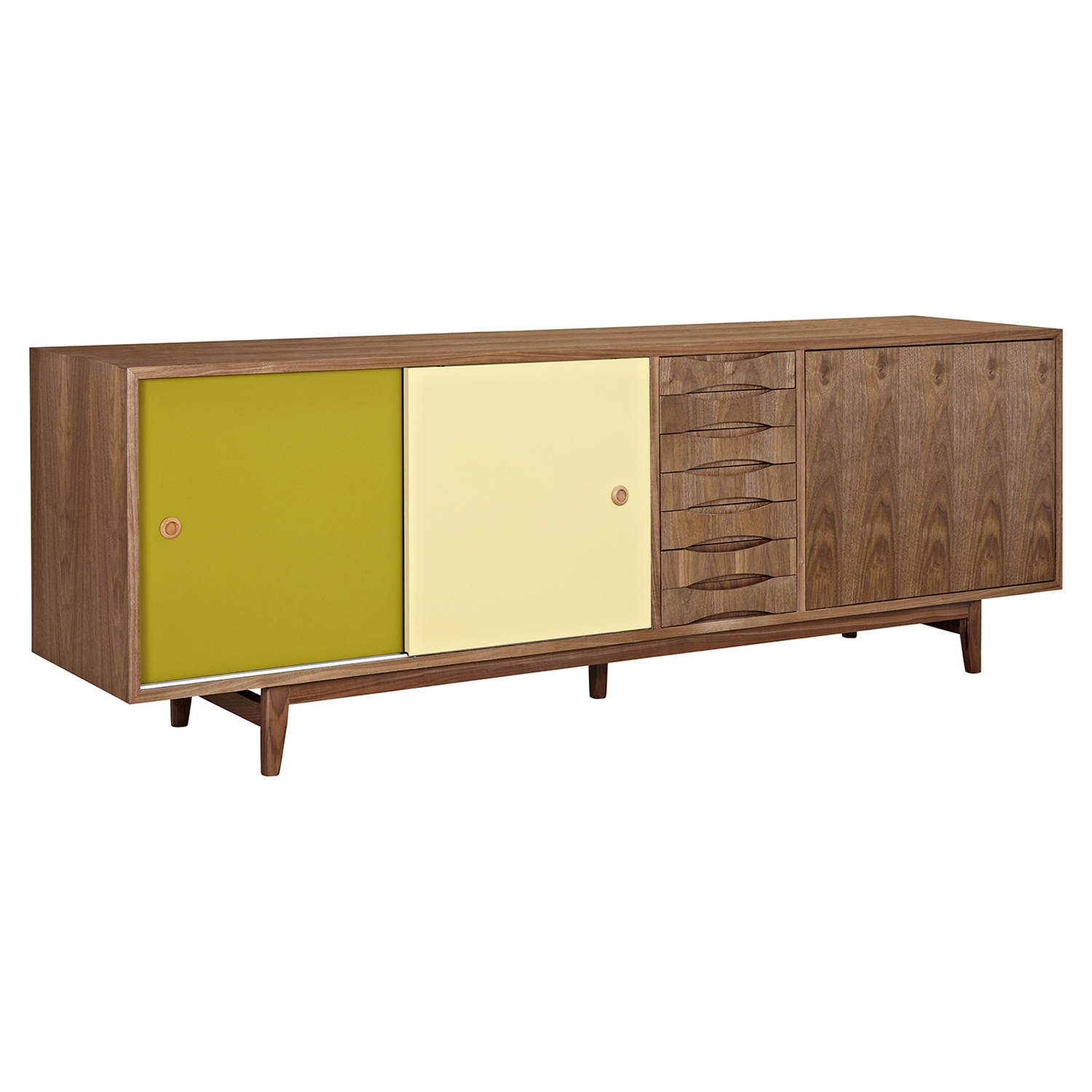 Alma 2 Sliding Doors Sideboard - Walnut with Green Door