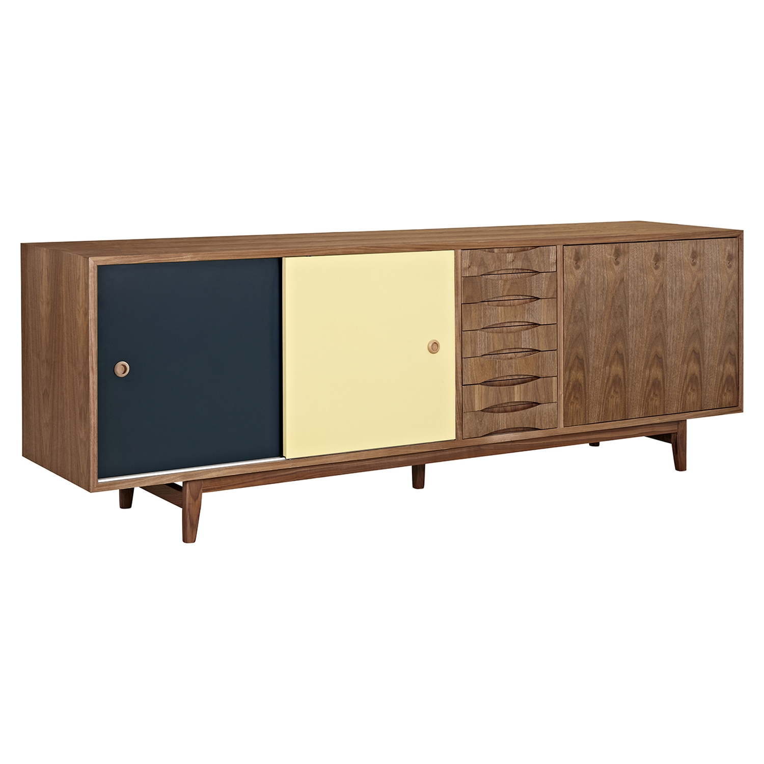 Alma 2 Sliding Doors Sideboard - Walnut with Teal Door