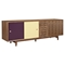 Alma 2 Sliding Doors Sideboard - Walnut with Plum Door - NYEK-224407-WP