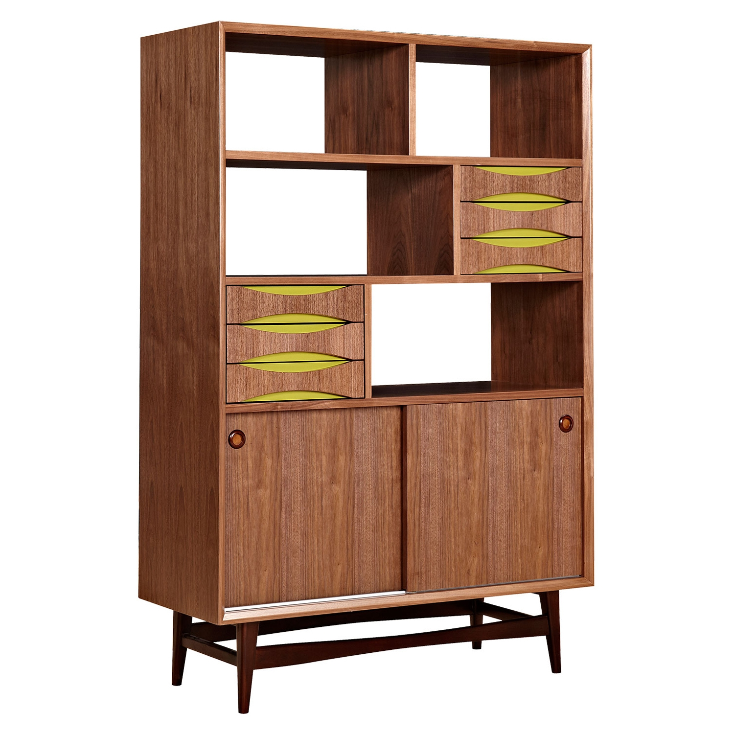 Hanna Storage Unit - Walnut and Green