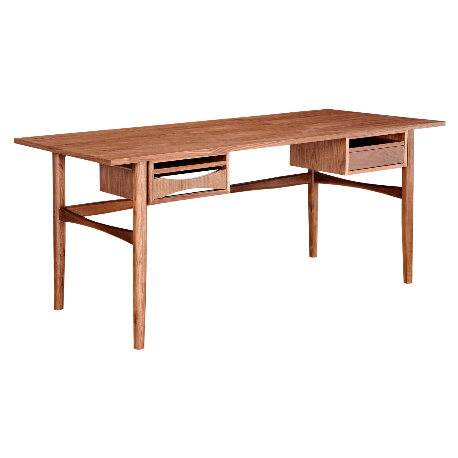 Hanna Office Desk - Walnut and White