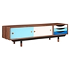 Soren Media Unit - Walnut and Blue