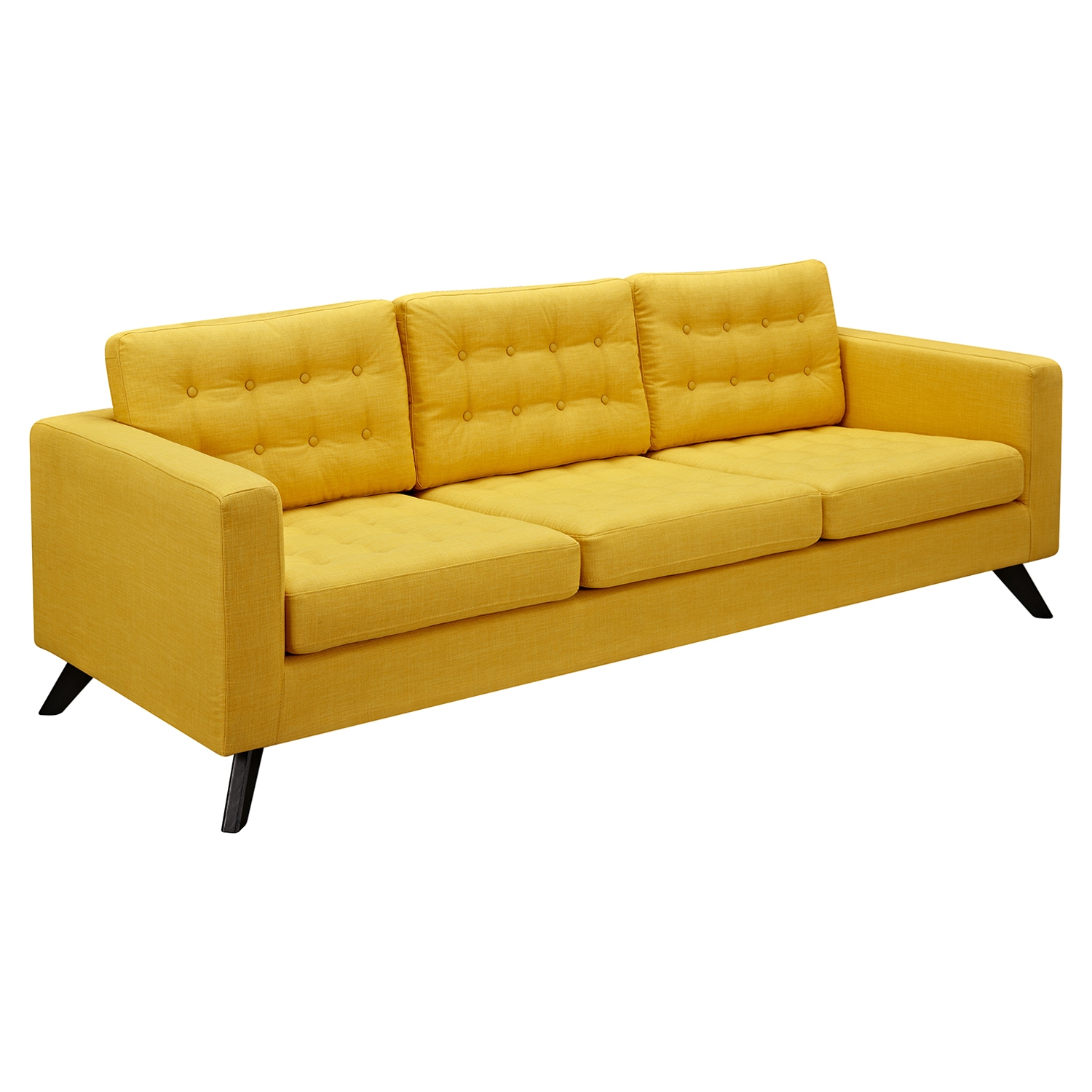 Mina Sofa - Papaya Yellow, Tufted - NYEK-224449