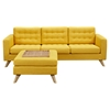 Mina Sofa Set - Papaya Yellow, Tufted