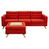 Mina Sofa Set - Retro Orange, Tufted